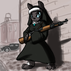 Size: 800x800 | Tagged: safe, artist:moronsonofboron, oc, oc only, diamond dog, female, female diamond dog, gun, kar98, nun, rifle, solo