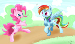 Size: 5080x3000 | Tagged: dead source, safe, artist:xcopyen002, pinkie pie, rainbow dash, earth pony, pegasus, pony, bipedal, duo, duo female, female, question mark
