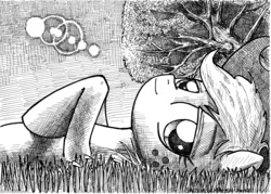 Size: 4896x3512 | Tagged: safe, artist:smellslikebeer, applejack, earth pony, pony, black and white, crosshatch, freckles, grass, grayscale, hat, ink, looking at you, lying down, monochrome, on back, traditional art