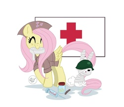 Size: 700x603 | Tagged: safe, artist:greenwiggly, angel bunny, fluttershy, bandage, clothes, cutie mark, female, hat, helmet, medical tools, nurse outfit, red cross, simple background, uniform, wings