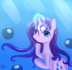 Size: 876x849 | Tagged: artist:pklove-chan, g4, magic, rarity, safe, solo, underwater