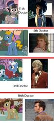 Size: 600x1368 | Tagged: safe, doctor whooves, time turner, comparison, doctor who, eleventh doctor, fifth doctor, regeneration, reincarnation, tenth doctor, third doctor