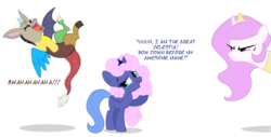 Size: 948x483 | Tagged: safe, artist:flausch-katzerl, discord, princess celestia, princess luna, pony, cotton candy, cute, filly, food, pink-mane celestia, simple background, transparent background, woona, younger