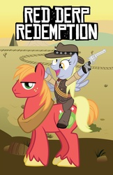 Size: 1648x2547 | Tagged: safe, artist:smashinator, big macintosh, derpy hooves, earth pony, pony, colt single action army, crossover, cute, derpabetes, gun, male, parody, ponies riding ponies, red dead redemption, revolver, riding, stallion, unamused, weapon, western