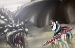 Size: 2704x1765 | Tagged: safe, artist:zedrin, shining armor, dragon, fight, spear, weapon