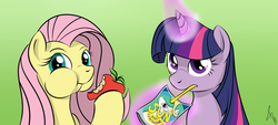 Size: 2000x900 | Tagged: safe, artist:sonicrainboom93, fluttershy, princess celestia, twilight sparkle, apple, eating, juice, juice box, magic