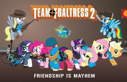 Size: 5012x3243 | Tagged: safe, artist:smashinator, applejack, big macintosh, derpy hooves, fluttershy, gummy, pinkie pie, rainbow dash, rarity, spike, twilight sparkle, earth pony, pony, crossover, male, parody, stallion, team fortress 2