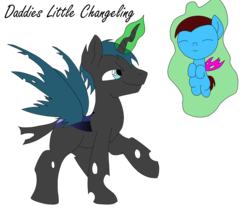 Size: 2417x2067 | Tagged: safe, artist:kitsamoon, oc, oc only, changeling, duo, father and son, high res, offspring
