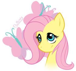 Size: 519x484   Tagged: safe, artist:mewglethewolf, fluttershy, pegasus, pony, bust, cutie mark, female, looking up, mare, portrait, simple background, smiling, solo, transparent background
