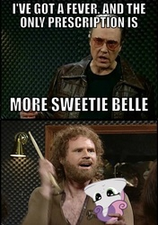 Size: 420x595 | Tagged: artist:orchetect, bell, christopher walken, cowbell, more cowbell, orchetect, pun, safe, saturday night live, steffan andrews, sweetie bell, sweetie belle, will ferrell