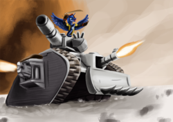 Size: 877x620 | Tagged: safe, artist:yavaho155, princess luna, commissar, crossover, drive me closer, female, heavy bolter, leman russ, ponified, solo, sword, tank (vehicle), warhammer (game), warhammer 40k