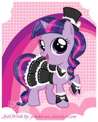 Size: 520x650 | Tagged: artist:yokokinawa, cute, filly, gothic lolita, hat, lolita fashion, safe, solo, top hat, twilight sparkle