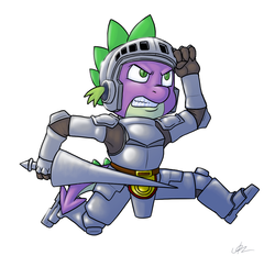 Size: 1162x1128 | Tagged: safe, artist:c0nker, spike, arthur, crossover, ghosts and goblins
