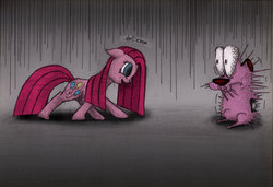 Size: 1280x873 | Tagged: safe, artist:jopa04, pinkie pie, courage the cowardly dog, crossover, imminent scream, pinkamena diane pie