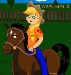 Size: 793x841 | Tagged: safe, artist:aura-cat, applejack, horse, humanized, surprised