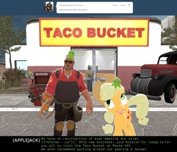 Size: 1250x1075 | Tagged: safe, artist:geronkizan, applejack, alien, brain slug, ellis, engineer, futurama, gmod, hypnotized, left 4 dead, lfd, lfd2, mind control, red, red engineer, taco, team fortress 2, tumblr, tumblr comic