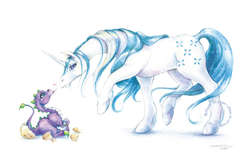 Size: 800x518   Tagged: artist needed, source needed, safe, majesty, spike (g1), dragon, pony, unicorn, baby, baby dragon, female, g1, hatching, male, mare, realistic, signature, simple background, white background