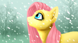 Size: 1440x800   Tagged: safe, artist:bluebirdrae288, fluttershy, snow, snowfall, solo