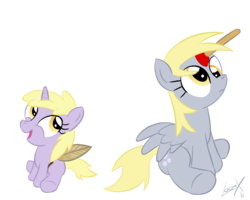 Size: 2000x1600   Tagged: safe, artist:loomx, derpy hooves, dinky hooves, pegasus, pony, cute, derpabetes, female, mare, plunger, plungicorn derpy, simple background, transparent background, vector