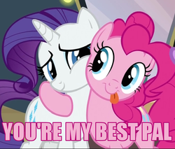Size: 690x588 | Tagged: safe, screencap, pinkie pie, rarity, best friends, friends, heartwarming, pink text, text
