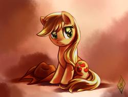 Size: 1020x781 | Tagged: safe, artist:whitediamonds, applejack, earth pony, pony, female, hat, loose hair, mare, sad