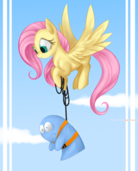 Size: 1000x1236 | Tagged: safe, artist:mn27, fluttershy, bloo (foster's), bungee jumping, crossover, foster's home for imaginary friends