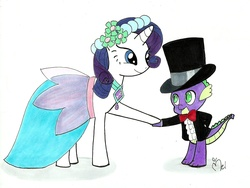 Size: 1913x1436 | Tagged: safe, artist:yuichan90, rarity, spike, bowtie, clothes, dancing, dress, female, interspecies, male, shipping, sparity, straight, suit