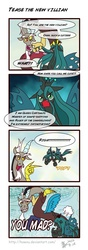 Size: 1200x3400 | Tagged: safe, artist:howxu, discord, queen chrysalis, changeling, changeling queen, nymph, age regression, comic, discord being discord, female, filly, filly queen chrysalis, i'm not cute, meme, trollcord, trollface