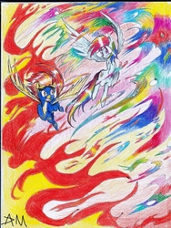 Size: 994x1323 | Tagged: dead source, safe, artist:yuji8sushi, rainbow dash, spitfire, pegasus, pony, abstract background, fire, flying, traditional art
