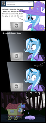 Size: 1225x3268   Tagged: safe, artist:evil-dec0y, trixie, pony, unicorn, comic:trixie vs., cape, clothes, comic, computer, female, forest, hat, laptop computer, mare, messy mane, night, scared, slenderman, solo, trixie's cape, trixie's hat, trixie's wagon