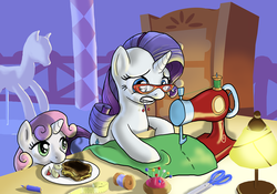 Size: 2000x1400 | Tagged: safe, artist:muffinshire, rarity, sweetie belle, apple, apple slices, burned, burnt toast, cute, daaaaaaaaaaaw, food, glasses, grilled cheese, mannequin, measuring tape, pencil, pincushion, rarity's glasses, sewing, sewing machine, sweetie belle can't cook, thread