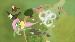 Size: 1920x1088 | Tagged: safe, artist:pixelspriteart, fluttershy, bat, bird, eagle, falcon, flamingo, goat, hummingbird, owl, rabbit, sea lion, seal, bush, chair, clothes, costume, description at source, fence, flight suit, flower, flying, table, tree