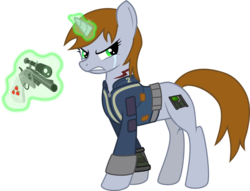 Size: 3931x3001 | Tagged: safe, artist:brisineo, oc, oc only, oc:littlepip, pony, unicorn, fallout equestria, clothes, crying, cutie mark, fanfic, fanfic art, female, glowing horn, gun, handgun, high res, hooves, horn, levitation, little macintosh, magic, mare, optical sight, pipbuck, revolver, simple background, solo, teeth, telekinesis, transparent background, vault suit, weapon
