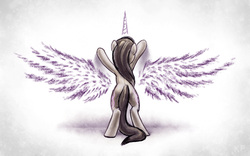 Size: 2560x1600 | Tagged: safe, artist:kp-shadowsquirrel, octavia melody, alicorn, earth pony, pony, against wall, aspiration, beautiful, bipedal, chalk, denied, horn, photoshop, reaching, rear view, solo, spread wings, tearjerker, wallpaper, wings