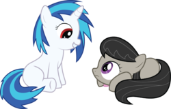 Size: 900x577 | Tagged: safe, dj pon-3, octavia melody, vinyl scratch, earth pony, pony, unicorn, blank flank, bowtie, eye contact, female, filly, foal, frown, grin, hooves, horn, lying down, prone, simple background, sitting, smiling, squee, teeth, transparent background, vector, younger