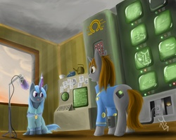 Size: 2000x1600 | Tagged: safe, artist:zikkrat, oc, oc only, oc:homage, oc:littlepip, pony, unicorn, fallout equestria, clothes, cutie mark, duo, fanfic, fanfic art, female, glowing horn, magic, mare, microphone, open mouth, paper, pipbuck, recording studio, screen, sitting, standing, vault suit, voice change, voice change spell, wires