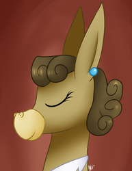 Size: 1024x1325 | Tagged: safe, artist:mylittlesheepy, matilda, donkey, bust, ear piercing, eyes closed, female, gradient background, piercing, smiling, solo