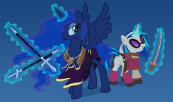 Size: 2028x1200 | Tagged: alicorn, artist:empty-10, dj pon-3, duo, female, glowing horn, hooves, horn, katana, levitation, magic, mare, polearm, pony, princess luna, safe, samurai, smiling, solo, spread wings, sunglasses, sword, teeth, telekinesis, unicorn, vinyl scratch, weapon, wings