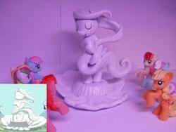 Size: 1497x1123 | Tagged: safe, artist:earthenpony, applejack, coconut cream, minty, pepperdance, roseluck, the cutie pox, art parody, birth of venus, cupcake, figure, irl, parody, photo, sculpture, statue, toy
