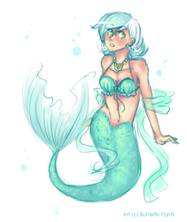 Size: 640x760 | Tagged: safe, artist:butterfly-pants, lyra heartstrings, mermaid, belly button, bubble, cleavage, cute, female, humanized, jewelry, lyrabetes, mermaidized, necklace, seapony lyra, seashell, seashell bra, simple background, solo, white background