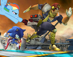 Size: 400x315 | Tagged: artist needed, source needed, safe, edit, edited screencap, screencap, rainbow dash, captain falcon, crossover, sonic the hedgehog, sonic the hedgehog (series), super smash bros., super smash bros. brawl