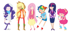 Size: 1542x700 | Tagged: safe, artist:washable-red, applejack, fluttershy, pinkie pie, rainbow dash, rarity, twilight sparkle, adventure time, beret, boots, clothes, converse, denim, dress, fingerless gloves, gloves, high heel boots, high heels, humanized, line-up, mane six, mary janes, necktie, shoes, shorts, simple background, skinny, skirt, spurs, sweater vest, tube skirt