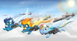 Size: 1700x900 | Tagged: safe, artist:gonein10seconds, rainbow dash, soarin', spitfire, a-10 thunderbolt ii, aircraft, autocannon, f-22 raptor, flying, gau-8, glare, goggles, grin, jet, jet fighter, military, minigun, plane, pure awesome, rocket pods, smiling, spread wings, weapon, wonderbolts