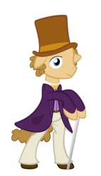 Size: 4000x7000 | Tagged: artist:spikesmustache, cane, clothes, earth pony, hat, male, ponified, pony, safe, simple background, stallion, top hat, transparent background, willy wonka