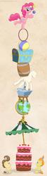 Size: 800x3000 | Tagged: safe, artist:muffinshire, pinkie pie, pound cake, pumpkin cake, balancing, cake, globe, juggling, kitchen sink, mannequin