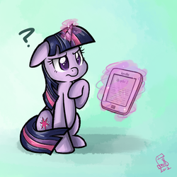 Size: 1300x1300 | Tagged: safe, artist:cainescroll, twilight sparkle, unicorn, confused, female, kindle, levitation, magic, mare, question mark, sitting, solo, tablet, telekinesis, unicorn twilight