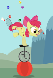 Size: 1076x1588 | Tagged: apple bloom, artist:felixabsolved, badminton, ball, cutie pox, juggling, paddleball, safe, unicycle