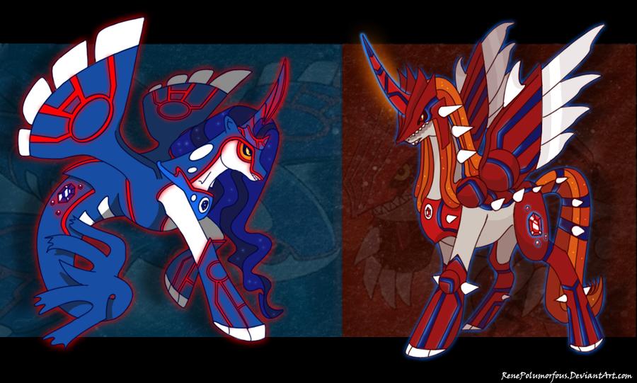 Abstract Background Alicorn Artistrenepolumorfous Duo Groudon Kyogre Legendary Pokemon Merpony Pokemon Ponified Pony Ponymon