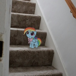 Size: 700x700   Tagged: safe, artist:insanesquirrel13776, rainbow dash, pony, bow, cute, filly, irl, photo, ponies in real life, stairs