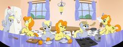 Size: 2600x1000 | Tagged: safe, artist:muffinshire, carrot top, derpy hooves, golden harvest, chicken, pegasus, pony, breakfast, cooking, egg (food), female, food, frying pan, kitchen, mare, montage, pancakes, parody, toast, toaster